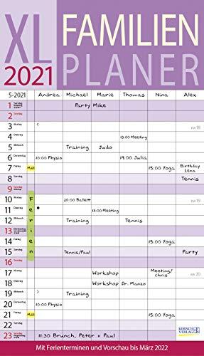 XL Familienplaner 2021: Familienkalender mit 6 breiten Spalten