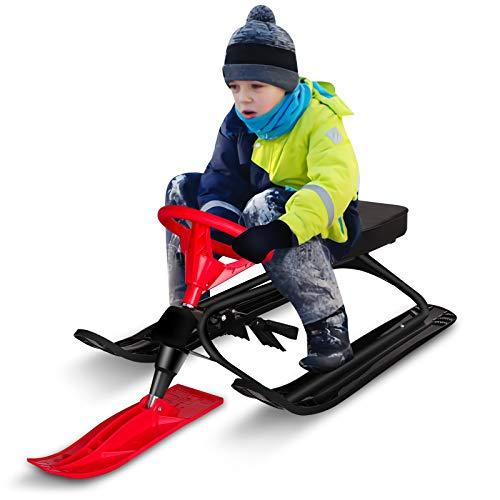 Qdreclod Schlitten Snowracer mit 2 Fußbremse und Lenkrad Schlitten Kinder Lenkschlitten für Kinder...