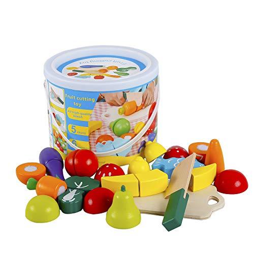 Hölzernes Geschnittenes Obst und Gemüse als Spielzeug Küche Simulation Bildungs Spielzeug für Kinder im...