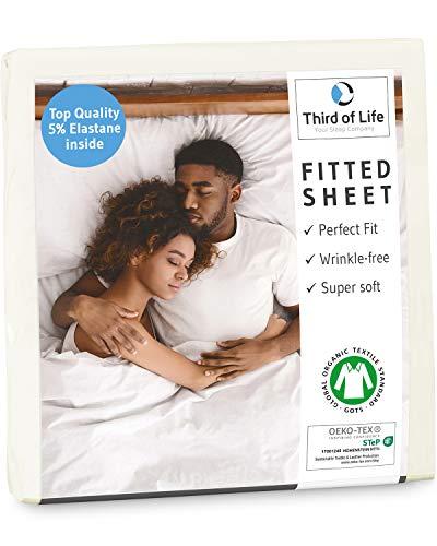 Third of Life Premium Spannbettlaken 90x200 cm aus weicher Oekotex-Baumwolle, GOTS Zertifiziert I Das...
