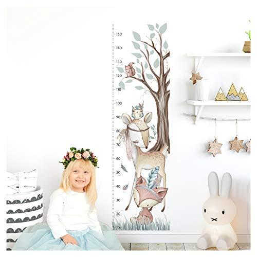 Little Deco Wandtattoo Kinderzimmer Junge Mädchen Messlatte | 150cm Fuchs REH Wald | Wandaufkleber Tiere...