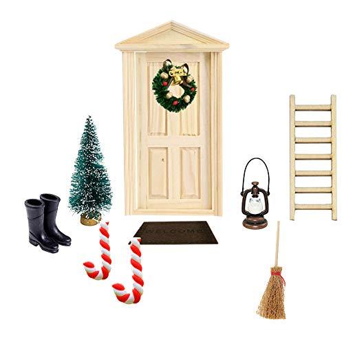 Hilai, Deko dänische Wichtel Tür Wichteltür, 1:12, DIY Weihnachten Puppenhaus-Set, Weihnachtskranz,...