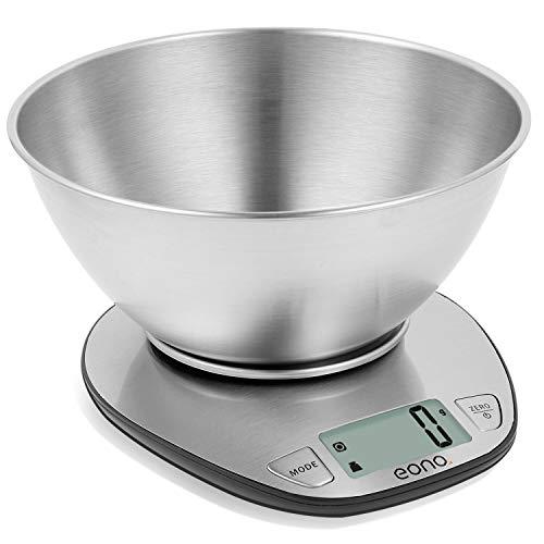 Eono by Amazon - Digitale Küchenwaage, Edelstahl-Kochwaage mit Abnehmbarer Schüssel zum Backen und Kochen,...