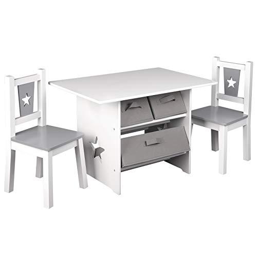 WOLTU SG011 Kindersitzgruppe, 1 Kindertisch und 2 Stühle, Kindertisch mit Stauraum, Kindermöbel Set aus...