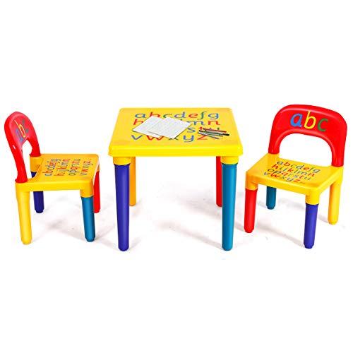 DREAMADE 3 TLG. Kindersitzgruppe Kindermöbel, Kinderstuhl & Tisch, Kindertisch mit 2 Stühle, Kindersitz Set,...