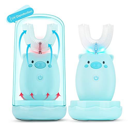 Kinder U-Typ Zahnbürste,KKUYI Elektrische Zahnbürste für Baby Kinder 2-6 Jahre Alt Schallzahnbürste mit...