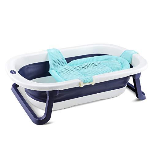 Navaris faltbare Babybadewanne mit Badesitz und Ablaufstöpsel - Kinderbadewanne faltbar - Wanne mit...