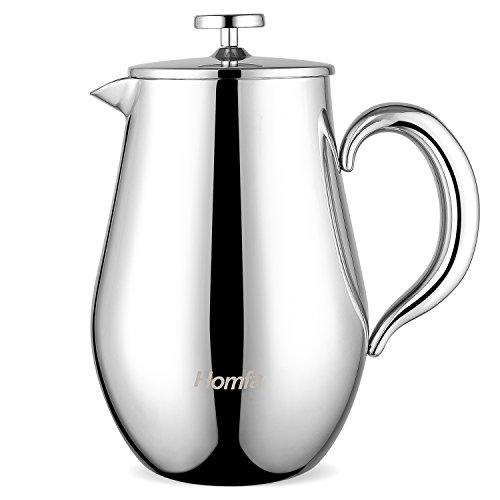 Homfa French Press aus Edelstahl Kaffeekanne 1L (5 Tassen) Thermo Kaffeebereiter doppelwandig isoliert...