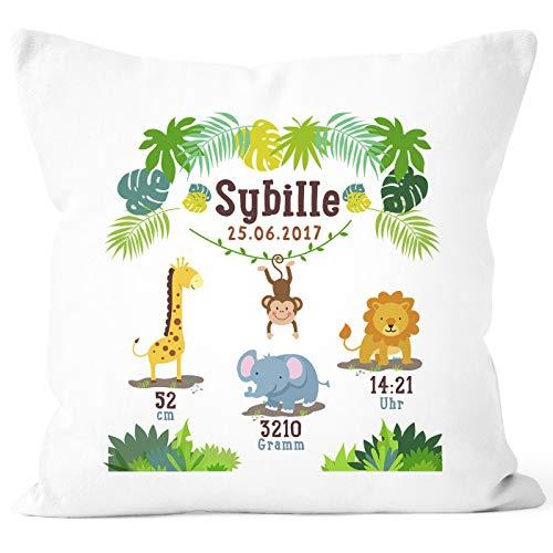 SpecialMe® Geburtskissen Dschungel Safari Löwe Elefant Giraffe Namenskissen personalisierbares Kissen zur...