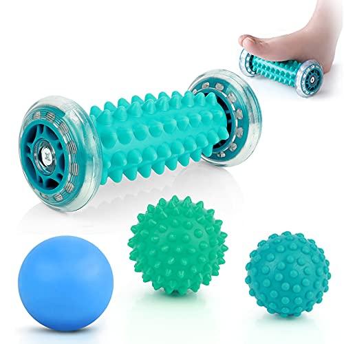 4 Set Massagebälle Igelball Set, ProChosen Fußmassage Roller für Hand, Fuß, tiefes Gewebe, Triggerpunk,...