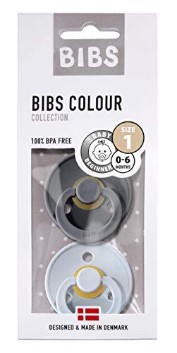 BIBS Schnuller Colour 2er Pack Größe 1 (0-6 Monate), Naturkautschuk, dänische Schnuller mit Kirschform...