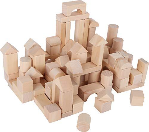 small foot 7073 Naturbausteine aus Holz, Steine in verschiedenen Formen, im Leinenbeutel zur Aufbewahrung, ab...