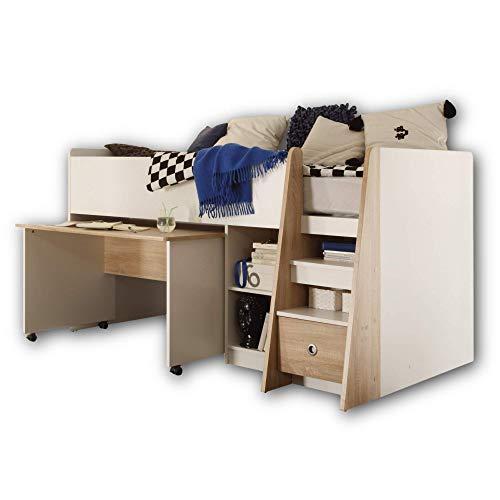 PIERRE Hochbett mit Schreibtisch 90 x 200 cm - Platzsparendes Kinder Etagenbett in Eiche Sonoma / Weiß - 102...