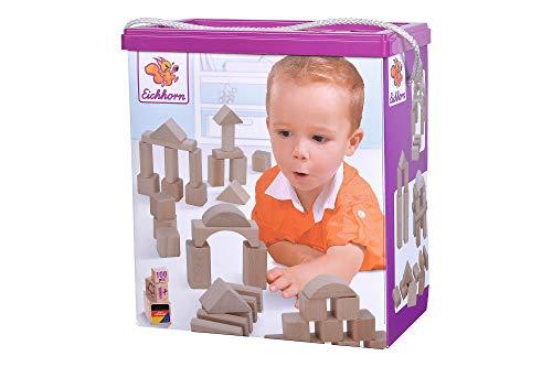 Eichhorn 100 naturfarbene Holzbausteine in der Aufbewahrungsbox mit Kordel und Sortierdeckel, für Kinder ab 1...