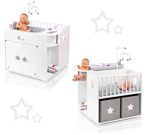 SUN Großes Puppenpflegecenter 5in1 Sternchen aus Holz mit Puppenbett Wanne Schrank (Weiß-Grau)