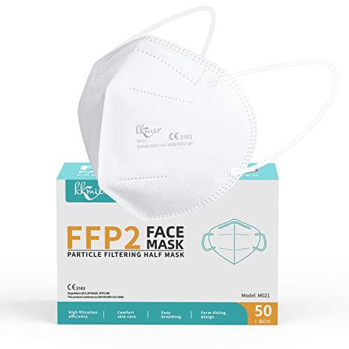 KKmier FFP2 Maske CE Zertifizierte 5 Lage Filterschutz Einweg-Atemschutzmasken Mundschutzmasken Weiß Einzel...