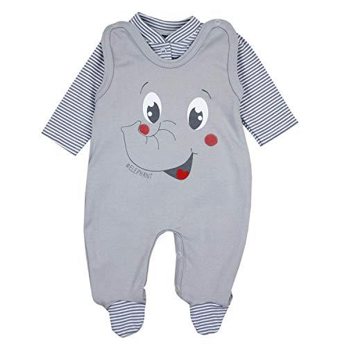 TupTam Baby Unisex Strampler-Set mit Aufdruck Spruch 2-TLG, Farbe: Elefant Grau, Größe: 62