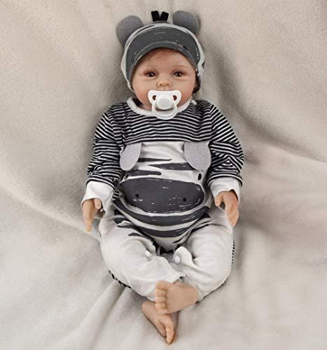 22 Zoll 55 cm Reborn Babypuppe Realistisch Neugeborene Reborn Silikon Weichkörper Lebensechtes Reborn Babys...