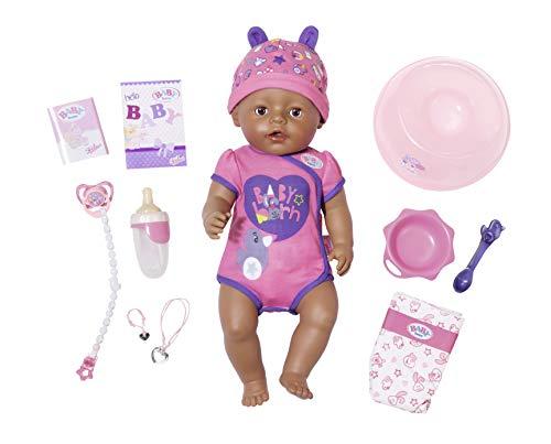 Zapf Creation 824382 BABY born Soft Touch Girl Brown Eyes Puppe mit Funktionen und Zubehör, 43 cm