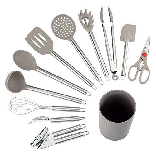 NEXGADGET Küchenhelfer Set, 12-teiliges Küchenzubehör Kochgeschirr Set aus Edelstahl & Silikon,...