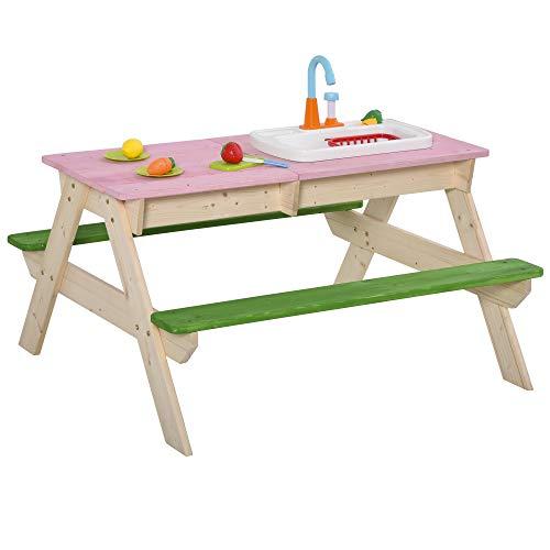 Outsunny 2-in-1 Kinder Campingtisch mit 2 Sitzbänke Matschküche Spieltisch mit Wasserhahn Holz Spieltisch...