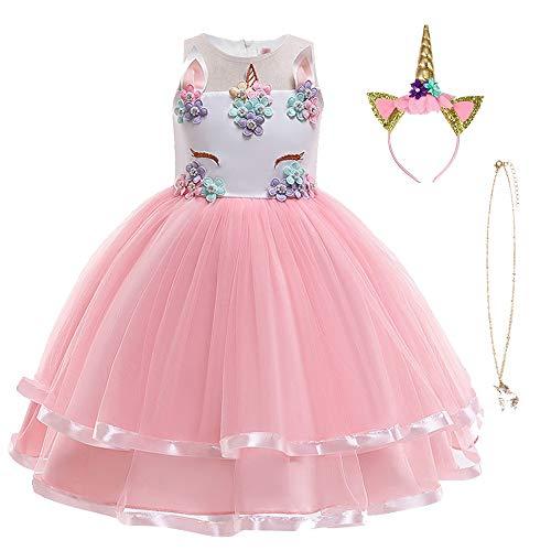 URAQT Mädchen Prinzessin Kleid, Mädchen Einhorn Cosplay Karneval Verkleidung Party Hochzeit Prinzessin Kleid...