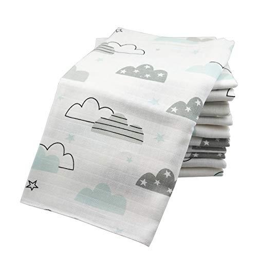 10x Spucktücher Mullwindeln Baby Baumwolle 80x70 cm   ÖKO-TEX (10 Wolken Mint)