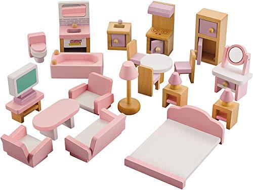 NextX Puppenhausmöbel Set Zubehör Puppenhaus Holz 22-teilig, Möbel für Minipuppen enthalten Badezimmer...