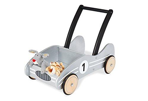 Pinolino Lauflernwagen Kimi, aus Holz, mit Bremssystem, Lauflernhilfe mit gummierten Holzrädern, für Kinder...