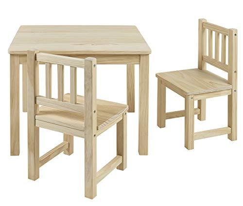 BOMI Stabile Kindermöbel: Tisch mit Stühle Amy aus Kiefer Massiv Holz | unbehandelt und unlackiert |...