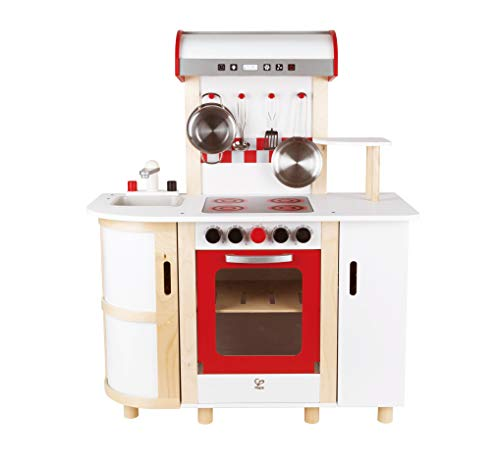 Hape E8018 - Küchentraum, Kinderküche inklusive Zubehör (Topf, Pfanne, Pfannenwender und Schöpflöffel),...