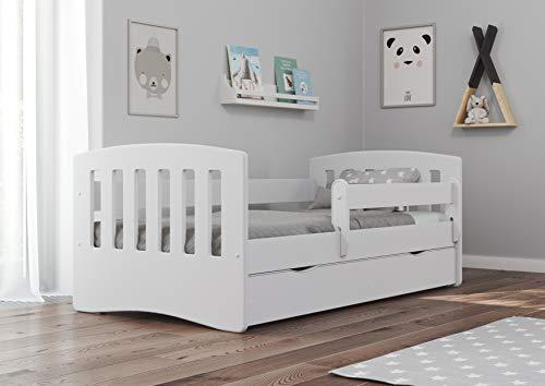 Bjird Kinderbett Jugendbett 80x160 80x180 Weiß mit Rausfallschutz Matratze Schublade und Lattenrost...