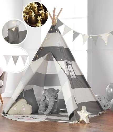 Haus Projekt Tipi-Zelt für Kinder mit Lichterkette, Wimpelkette, Aufbewahrungstasche & Bodenmatte – Tipi...
