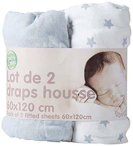 BabyCalin BBC413807 Spannbettuch, 60cm x 120cm, Himmelblau und Sternendruck, 2er Set, blau, 2 Stück