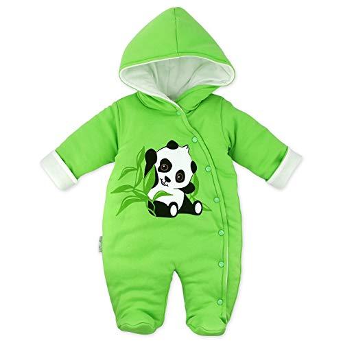 Baby Sweets Baby Winter Overall Unisex grün im Motiv: Happy Panda als Baby Schneeanzug mit Kapuze für...