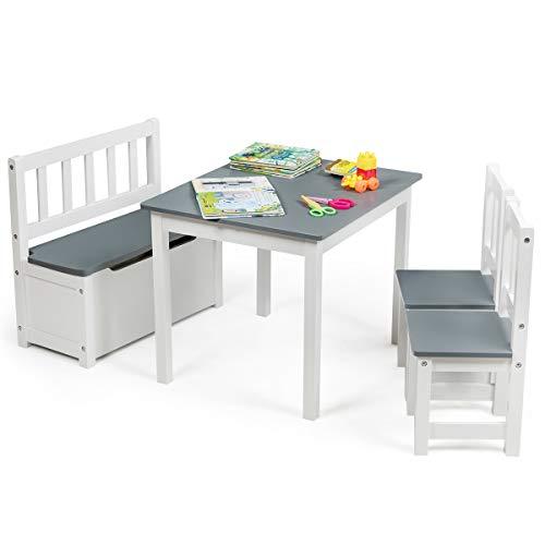 COSTWAY 4 TLG. Kindersitzgruppe Holz, Kindertisch Stühlen Sitzbank mit Stauraum, Sitzgruppe Kinder,...