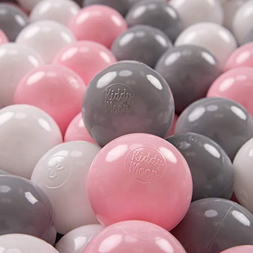 KiddyMoon 100 ∅ 7Cm Kinder Bälle Spielbälle Für Bällebad Baby Plastikbälle Made In EU, Weiß/Grau/Rosa