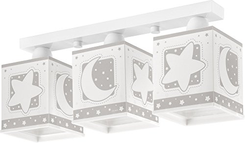 Dalber 63233E Mond und Sterne Deckenlampe, 3-Flammige, Plastik, grau, 48 x 12.5 x 20.5 cm