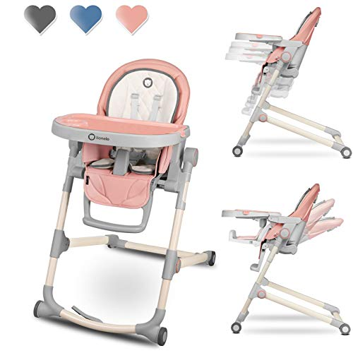 Lionelo Cora Hochstuhl Baby, Kinder Hochstuhl bis 15 kg, höhenverstellbar, regulierbare Rückenlehne,...