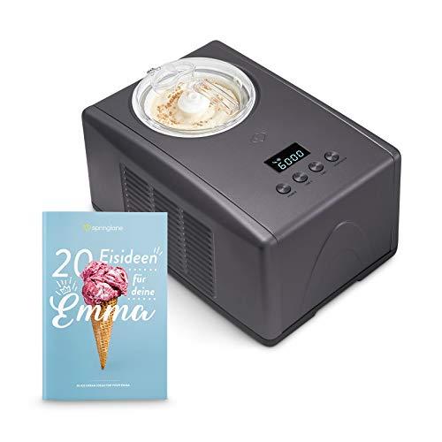 Eismaschine Emma 1,5 L mit selbstkühlendem Kompressor 150 W, aus Edelstahl mit entnehmbarem Eisbehälter,...