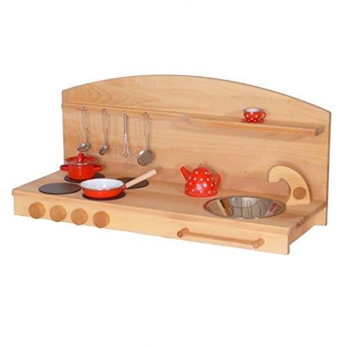 Kinder-Holz-Spielküche 1035BN - Tisch-Kinderküche - Herd Spüle - Spielhauszubehör