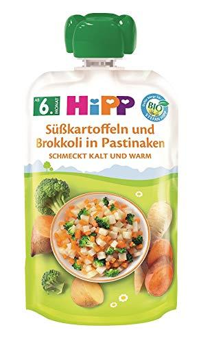 Hipp Bio Herzhafte Gemüse-Quetschbeutel ab 6. Monat Süßkartoffeln und Brokkoli in Pastinake, 7er Pack (7 x...