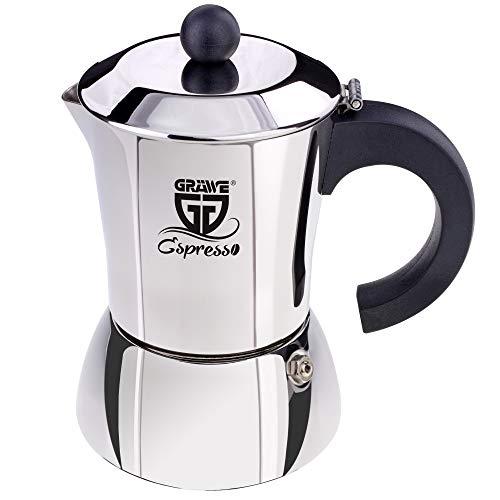 GRÄWE Espressokocher Induktion geeignet, Espressokanne aus Edelstahl für 4 Tassen, Klassischer Espresso...