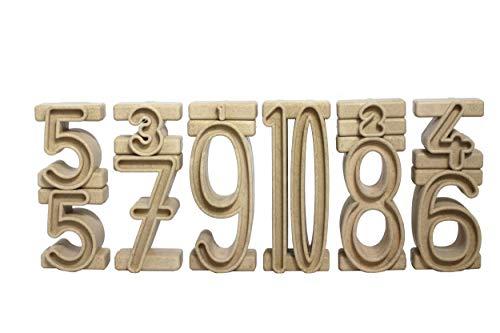 Wissner aktiv lernen R80021.000 - RE Wood 34 Stapelzahlen natur, Montessori Lernspielzeug, Zahlen zum Stapeln...