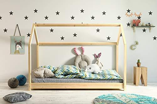 Kinderbett Holzbett Hausbett Spielbett 90x200, 80x180, 80x160 Haus Holz mit Lattenrost für Mädchen und Junge...