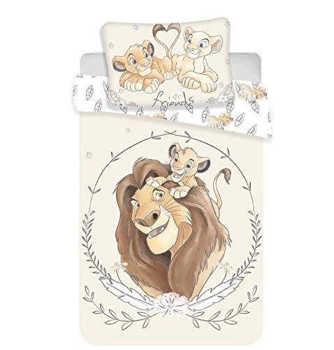 Kinderbettwäsche Disney III 2-teilig 100% Baumwolle 40x60 + 100x135 cm mit Reißverschluss (König der...