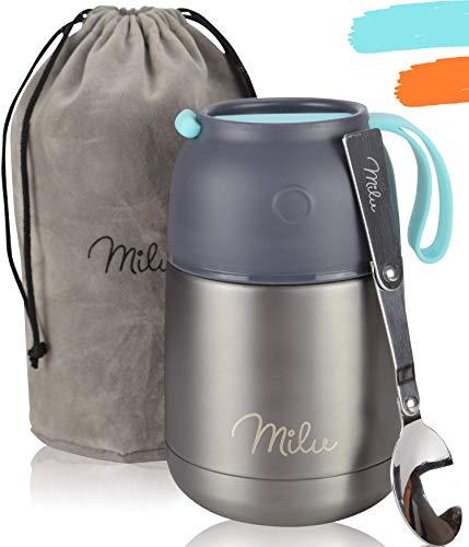 Milu® Thermobehälter Lunchbox 450, 650ml | Edelstahl Isolierbehälter Gefäß für warme Speißen, Essen,...