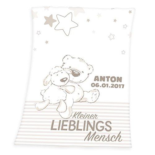 Wolimbo Flausch Babydecke mit Ihrem Wunsch-Namen und Bärchen Lieblingsmensch Motiv -...