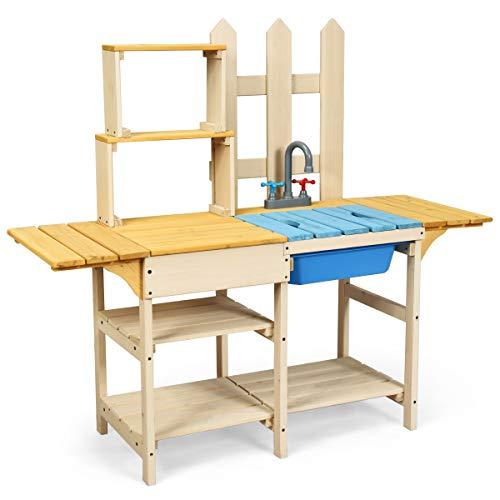 COSTWAY Matschküche mit Wasserhahn, Kinderküche Holz, Outdoor Küche, Holzküche, Spielküche,...
