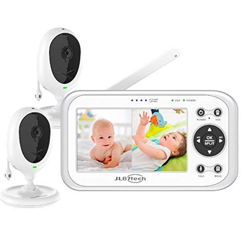 JSLBtech Video Babyphone mit 2 kameras Geteilter Bildschirm 4.3' LCD Bildschirm, Temperaturüberwachung,...